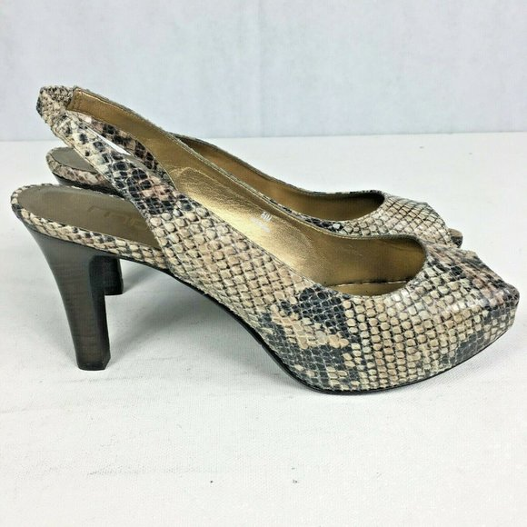 Moda Spana Snake Python Peep Toe Pump Heels 8.5
